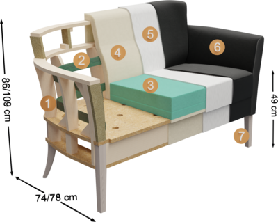 Clubmöbel Bellosa | Aufbau Querschnitt Überblick mit Höhe, Tiefe und Sitzhöhe