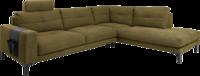 Ecksofa in grünem Stoff, Sitztiefenverstellung, schwarzen Metallfüßen und Tasche an der Armlehne