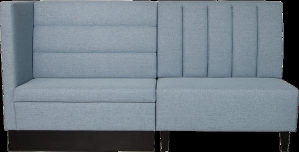 Polsterbank CHOICE, 2 Einzelelmente grau mit hoher Armlehne, Blocksitz und Kissenoptik, Rückenlehne mit horizontalem und vertialem Einzug