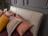 Kopfhaupt von Bett Fossey in beigem Leder und mit Naht