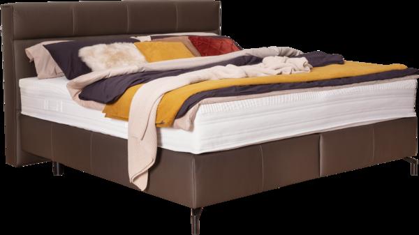 Bett in dunkelbraunem Lederstoff, schwarzen Metallfüßen und Quadratheftung am Kopfhaupt