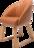 Sessels Cliff in orangem Leder mit Holzfüßen.