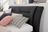 Bett in schwarzem Lederstoff und motorisierter Kopf-und Fußverstellung