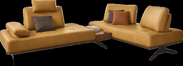Ecksofa Verona in gelbem Leder mit integriertem Tisch, Holzsockel und schwarzen Metallfüßen