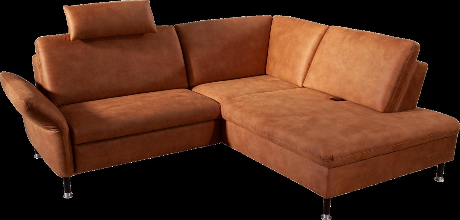 Ecksofa mit braunem Stoff und verstellbaren Sitzfunktionen