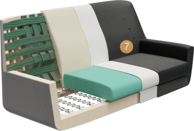 Lobbymöbel Bondo   Aufbau Querschnitt mit Gestell, Sitzaufbau, Rückenlehneaufbau, Polsterung, Rückenlehne, Feinpolsterung und Bezug