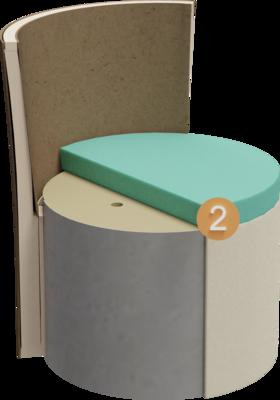 Sitzhocker Veda | Aufbau Querschnitt Gestell mit Polsterung