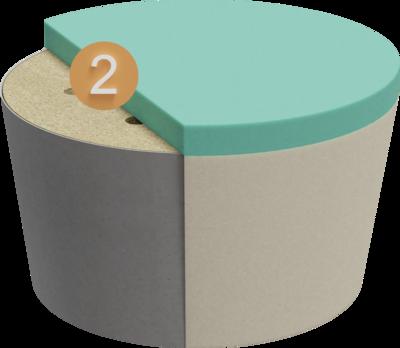 Sitzhocker Villlo | Aufbau Querschnitt Gestell mit Polsterung