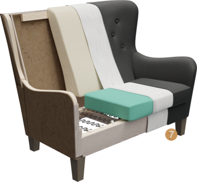 Lobbymöbel Bellamo   Aufbau Querschnitt mit Gestell, Sitzaufbau, Rückenlehne, Polsterung, Feinpolsterung, Bezug und Füßen