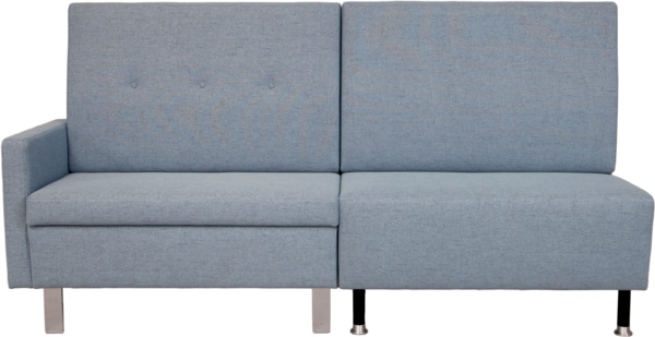 Beispiel-Aufstellung der Sitzbank Choice in grauem Stoff | 2 Elemente in verschiedener Optik in der Frontansicht