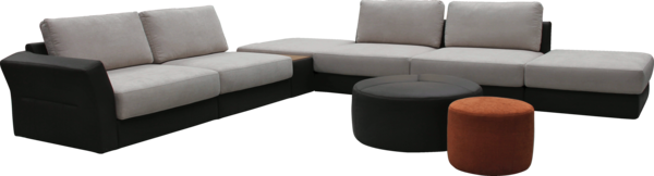 seat set Lunga | Sample compilation in black / gray fabric with stool in black and orange | Wooden shelf between the elements | perspective view