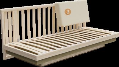 Schlafsofa Siena | Aufbau Querschnitt mit Gestell, Sitzaufbau und Rückenlehne