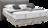 Boxspringbett mit Materialmix aus Stoff und Leder, schwarzen Metallfüßen und Naht Detail im Kopfhaupt
