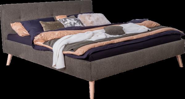 Doppelbett Falco in grünem Stoff bezogen , bestehend aus einem Bettkasten und Kopfhaupt auf Holzfüßen, 180x200cm Partnermatratze auf 2 Lattenrosten und einer separaten Nachtkästchen