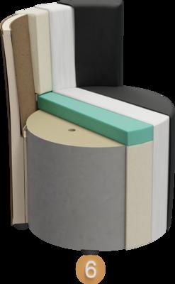 Sitzhocker Veda | Aufbau Querschnitt Gestell, Polsterung, Feinpolsterung, Bezug und Füße