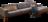 Ecksofa Tarvisio in braun-grauem Stoff mit Holzsockel und Holzfüßen.