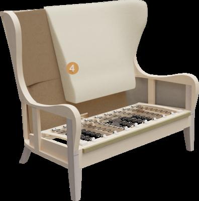 Clubmöbel Besso | Aufbau Querschnitt mit Gestell, Sitzaufbau und Rückenlehne
