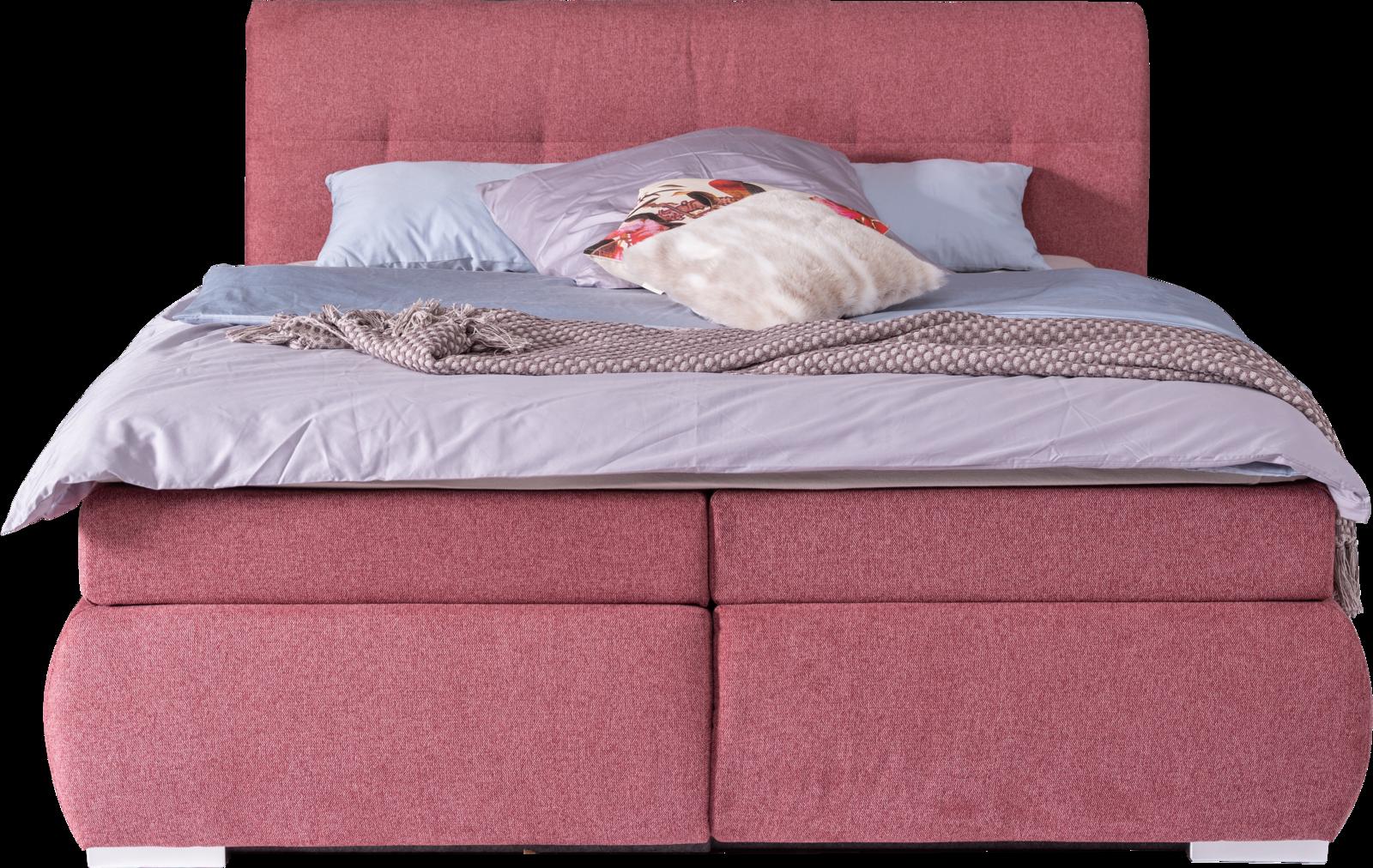 Bett mit rosa Stoff und Stauraum