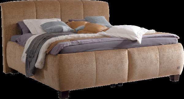 Bett in braunem Stoff, zusätzliche Nähte im Kopfhaupt und Bettkasten, sowie Stauraum im Bettzeugraum