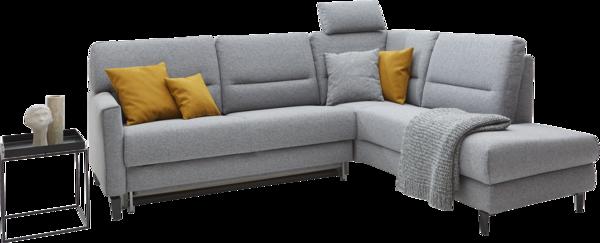 Ecksofa Messina in grauem Stoff mit Stauraum und schwarzen Möbelfüßen.