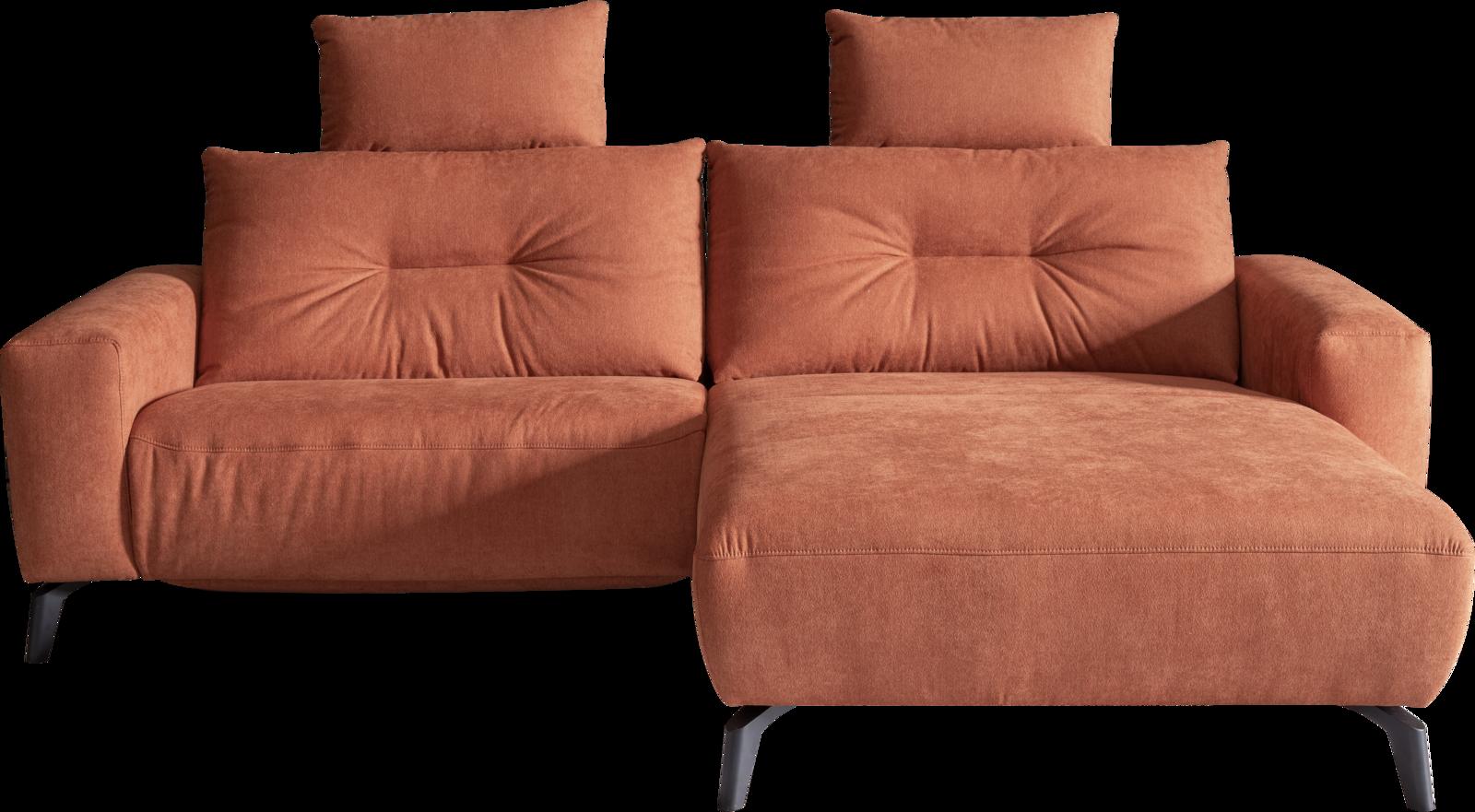 Sofa in orangem Stoff, Relaxfunktionen und schwarzen Metallfüßen