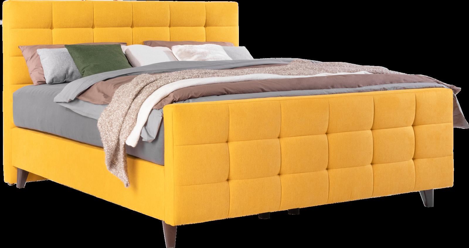 Bett in gelben Stoff, schwarzen Holzfüßen und mit Quadratheftung in Kopf- und Fußhaupt