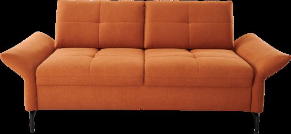 Sofa in orangem Stoff, Chaiselounge, schwarzen Metallfüßen, Sitzteifenverstellung, Armteilverstellung und Doppelliegefunktion
