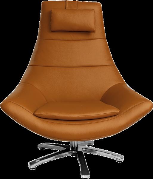 Sessel Oliver in orangem Leder mit hoher Rückenlehne, Nackenkissen und Metallfuß.