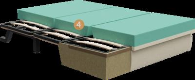 Schlafsofa Subito   Aufbau Querschnitt mit Metalgestell, Holzgestell, Sitzaufbau und Polsterung