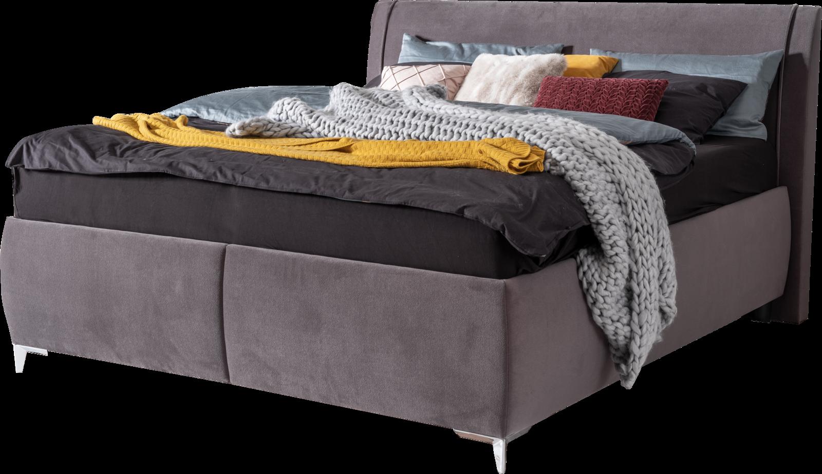 Bett mit grauem Stoff, geteiltem Bettkasten und Naht am Kopfhaupt