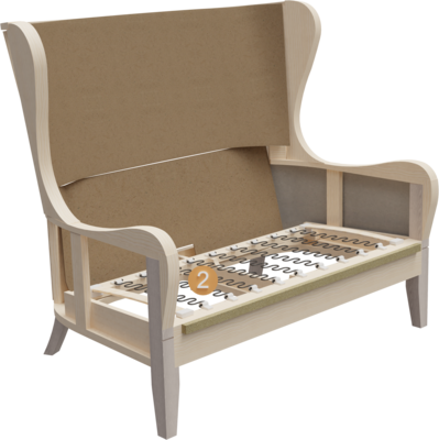 Clubmöbel Besso | Aufbau Querschnitt mit Gestell und Sitzaufbau