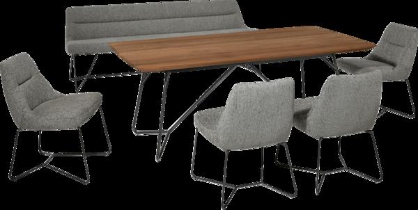 Essgruppe Preston mit grauen Stoffsesseln und Holztisch mit schwarzen feinen Metallfüßen.
