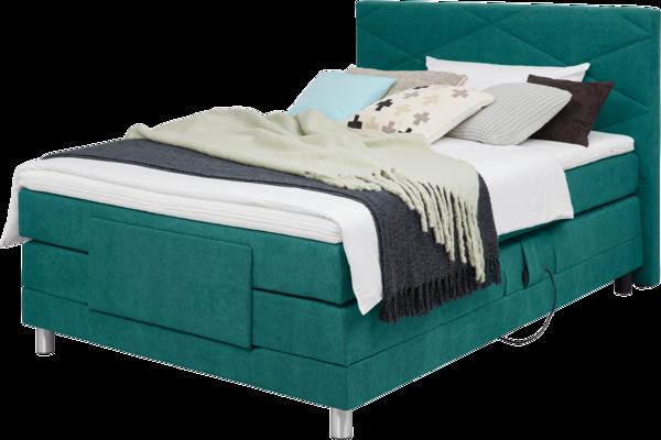 Bett in Türkisem Stoff, Heftung im Kopfhaupt und motorisierter Kopf-und Fußverstellung