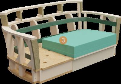 Clubmöbel Bellosa | Aufbau Querschnitt mit Gestell, Rückenlehneaufbau und Polsterung