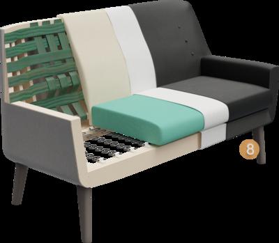 Lobbymöbel Bondo   Aufbau Querschnitt mit Gestell, Sitzaufbau, Rückenlehneaufbau, Polsterung, Rückenlehne, Feinpolsterung, Bezug, und Füßen