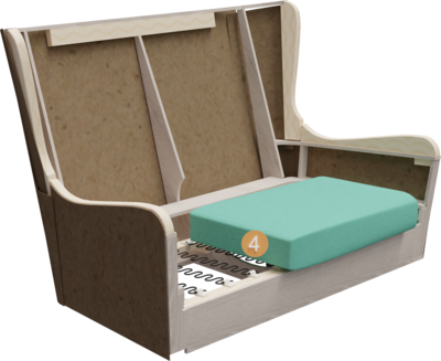 Lobbymöbel Bellamo   Aufbau Querschnitt mit Gestell, Sitzaufbau und Polsterung