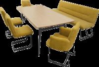 Essgruppe Tomo in gelbgrünem Stoff, mit Bank, 4 Stühlen und schwarzen Metallfüßen