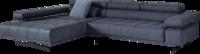 Blaues Sofa Raimo mit breitem Chaiselongue und verstellbarer Arm-und Nackenstütze.