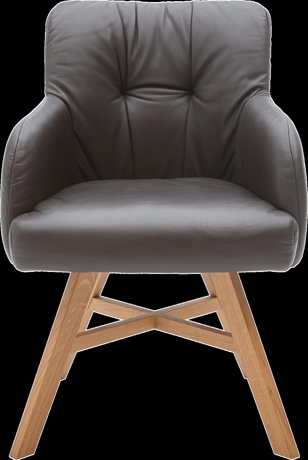 Sessel Clint in dunkelbraunem Leder und Holzfüßen.