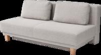 Sofa Aika in hellem Stoff, Holzfüßen und losen Rückenkissen