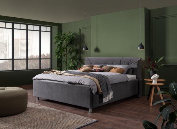 Bett in grauem Stoff und weich gepolstertem Kopfhaupt mit Knopfheftung