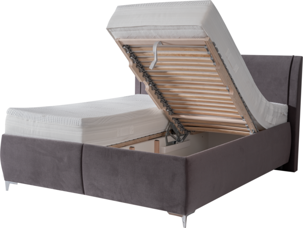 Funktion mit aufklappbaren Lattenrost und geräumigen Bettkasten
