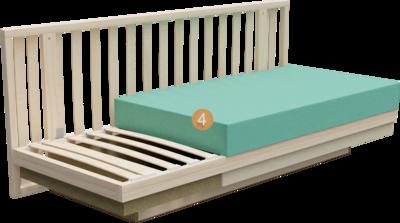 Schlafsofa Siena | Aufbau Querschnitt mit Gestell, Sitzaufbau und Polsterung