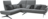 Graues Ecksofa mit schwarzen Füßen und Rückenverstellung.