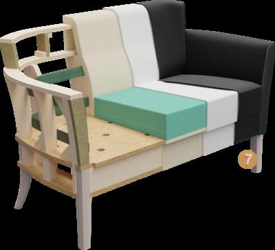 Clubmöbel Bellosa | Aufbau Querschnitt aus Gestell, Sitzaufbau, Rückenlehne, Polsterung, Feinpolsterung, Bezug und Füßen