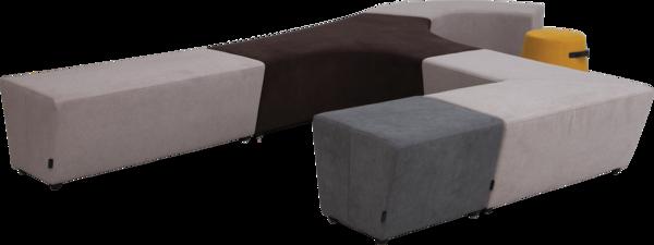 Beispiel-Zusammenstellung für Sitzhocker Vendi | Hockerlandschaft in verschiedenen Farben für Büro oder Kreativzonen | perspektivische Ansicht