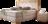 Boxspringbett in beigem Stoff, Kopfhaupt mit Massivholzumrandung, Knopfheftung und Sichtholzelementen in Wildeiche