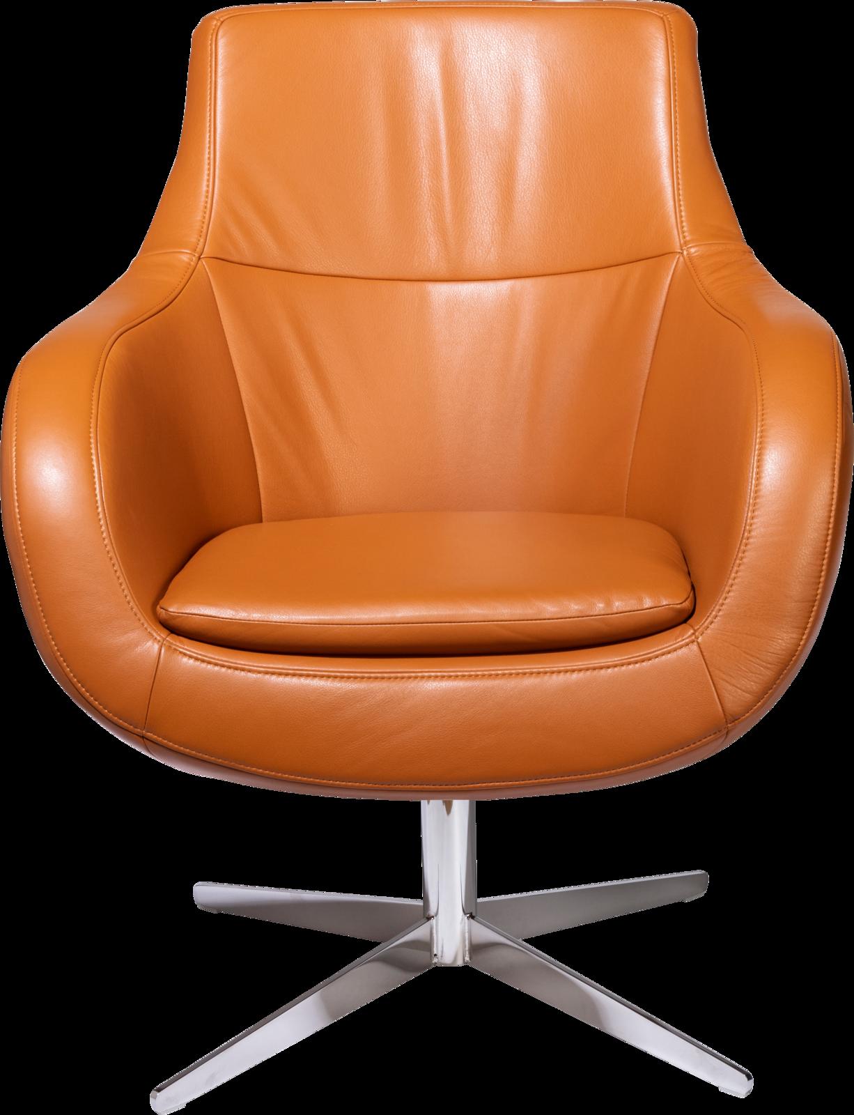 Sessel Oliver in orangem Leder mit niedriger Rückenlehne und Metallfuß.