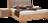 Boxspringbett mit Massivholz in Zirbe und Kopfhaupt mit Stoff und Knopfheftung
