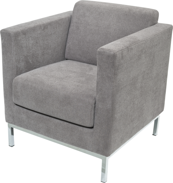 hellgrauer Sessel mit Chromfüßen
